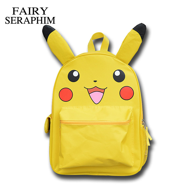 6e2b3dd00a36 FAIRY SERAPHIM Anime Pokemon monster Backpack Boys Girls School Bags  Pikachu Prints Backpack Kids Backpacks Schoolbags Mochila