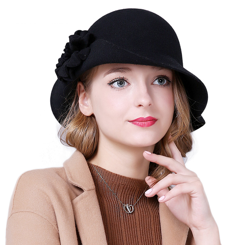 Ladies Fascinator Hats Floral  Wool Fedoras for Women Winter Royal Princess Church Caps Party Black Bowler Hat