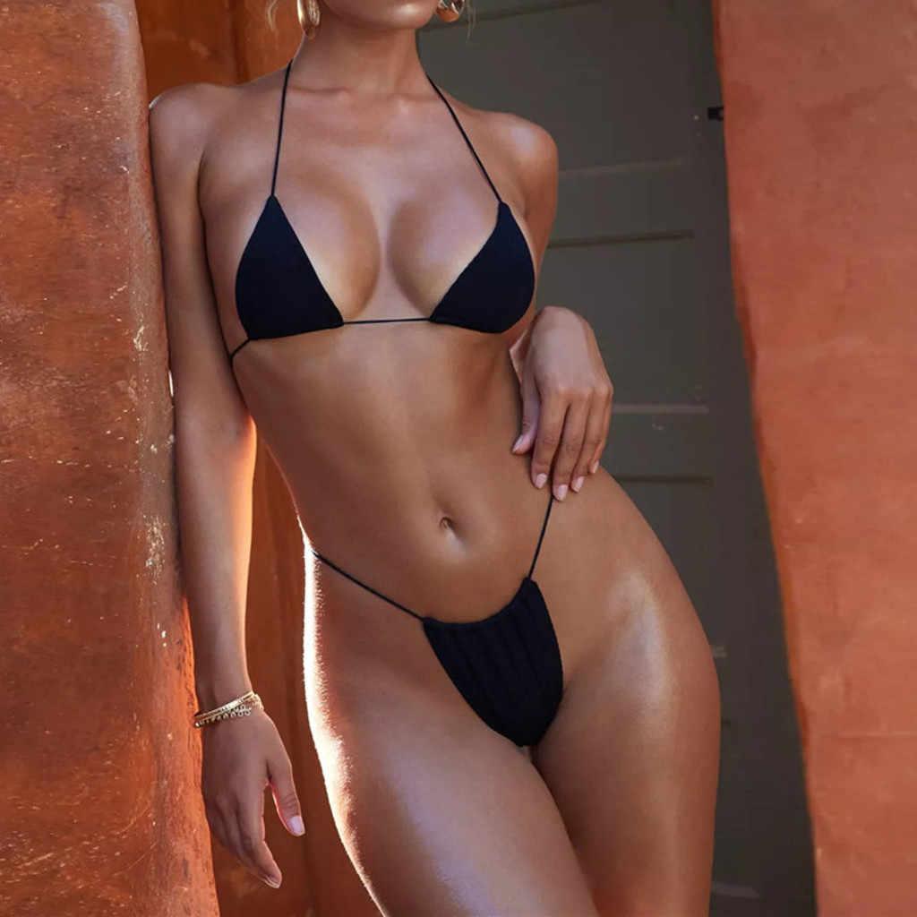 Sexy Halter Solid Bikini Set Badpak Vrouwen Thong Micro Bikini 2019 Badmode Strand Badpak Lace Up Mini Biquini Mayokini