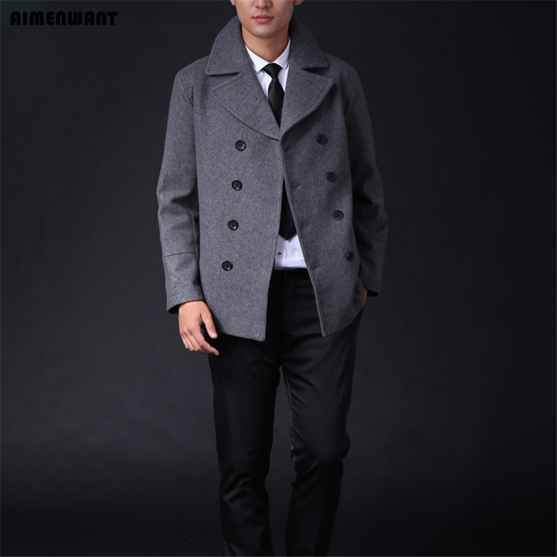 AIMENWANT Size Customize Male Wool Trenchcoat Western High Quality Grey Coat For Men Jackets And Coat Boys Fashion Pea Coat Gift