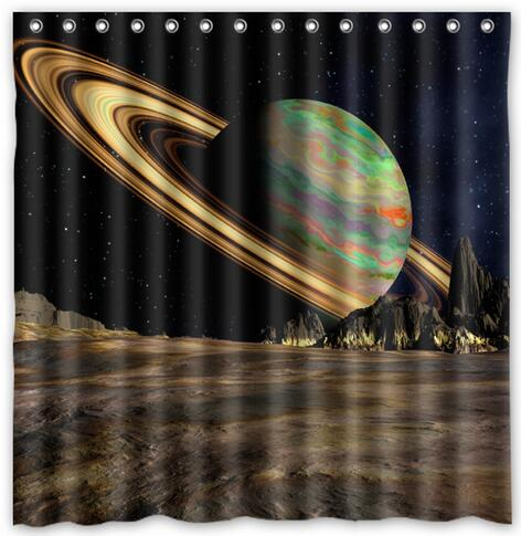 Planet Saturn Space Ring Design Fabric Shower Curtain 180x180cm Waterproof Mildewproof Curtains