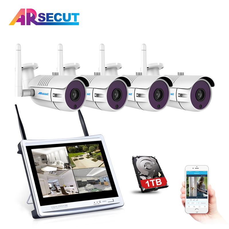 Plug And Play 12 LCD Screen 4CH Wireless NVR CCTV System 960P HD Outdoor Security IP Camera WIFI Video Surveillance Kit 1TB HDD new listing plug and play 4ch wireless nvr kit 7 inch lcd screen 720p hd outdoor security wifi camera cctv system 1tb hdd
