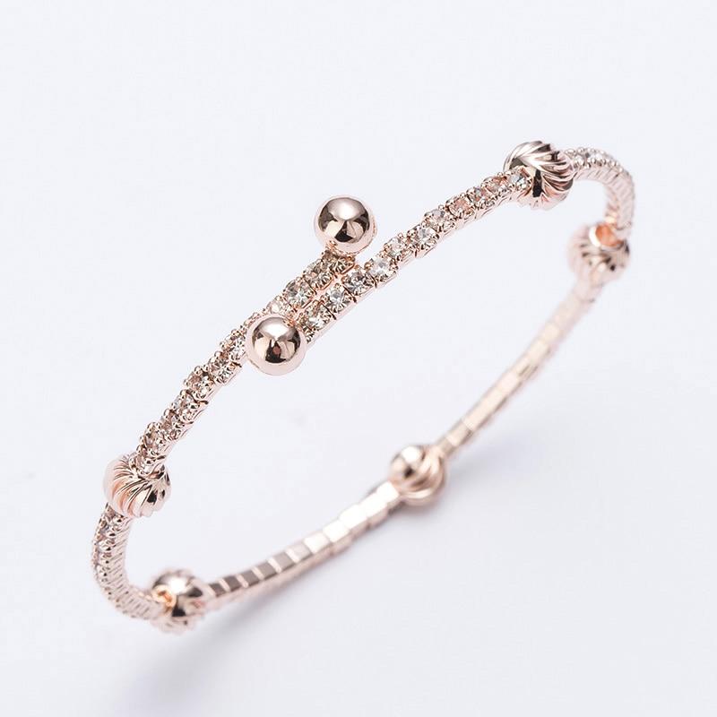 Love Rhinestones Cuff Bracelets Bangles Rose Gold/silver Color Alloy Open Adjustable Bracelet Bangle
