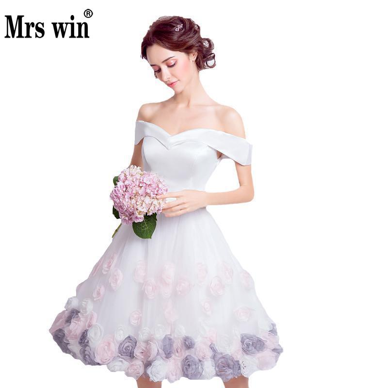 Prom Dresses 2018 New Fashion Purple Flowers Rose Short Evening Dress Boat Neck Luxury Evening Gowns Vestido De Festa