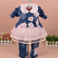 Childrens clothing 2019 spring and autumn girl suit denim flower three-piece fashion infant 1-2-3 years old baby clothes