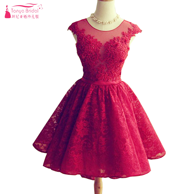 Red short homecoming dresses lace prom dress semi formal for Wedding dresses near me now