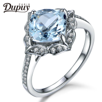DUPUY 2018 Hot Sale VS 7mm Cushion Cut Aquamarine Ring Floral Halo Diamond Gemstone Ring Stackable Ring Vintage Ring F0011AQ