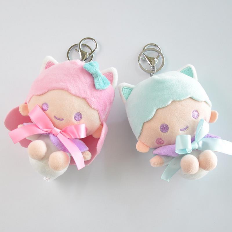 1 Pc New Cartoon Little Twin Stars Plush Toys Keychain Small Soft Dolls Key Bag Pendants Cute Mini Anime Doll Gift