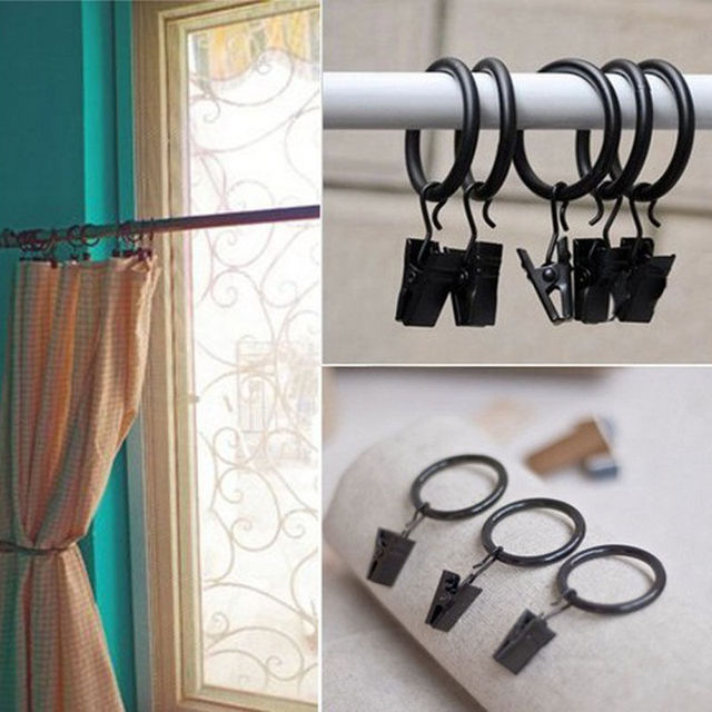 5PCS Stainless Steel Window Shower Curtain Clips Hook Clips Drapery Hoop  Clips