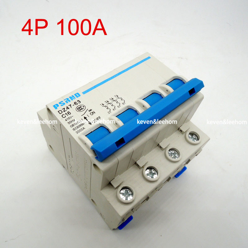 DZ47 4P 100A AC 230V 400V Circuit breaker MCB Household air switch without leakage C type рекламный щит dz 5 1 j1a 230 jndx 1 s a