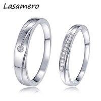 LASAMERO 0.025CT Ronde Cut Certified Echt 18 k White Gold Natuurlijke Diamant Ring Paar Ringen Engagement Wedding Ring