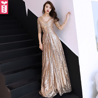 Custom Noble Shiny Golden Sequins Party Banquet Dresses Women Evening Formal Wedding Ball Gown Long Dress Maxi Dress