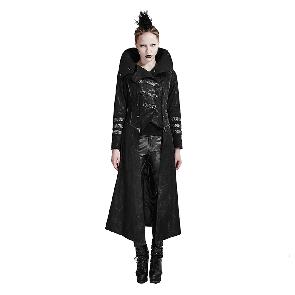Gothic Women Black Long   Trench   Removable Hat High Collar Overcoats Strentch Twill Fabric Coat Calender Scorpion Leather   Trenches