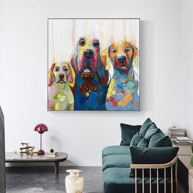 Dog painting Canvas acrylic painting wall art pictures for living room home decor pop art animal Painting cuadros decoracion 002 in Painting Calligraphy from Home Garden