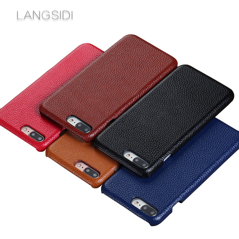 wangcangli For iPhone 8 case handmade custom Real Leather Litchi texture phone back cover Genuine Leather phone case in Half wrapped Cases from Cellphones Telecommunications