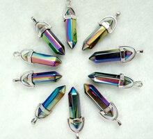 Подвески из натурального камня с бирюзой и кварцевым кристаллом, подвески для ювелирных изделий diy, ожерелья, аксессуары 24 шт.