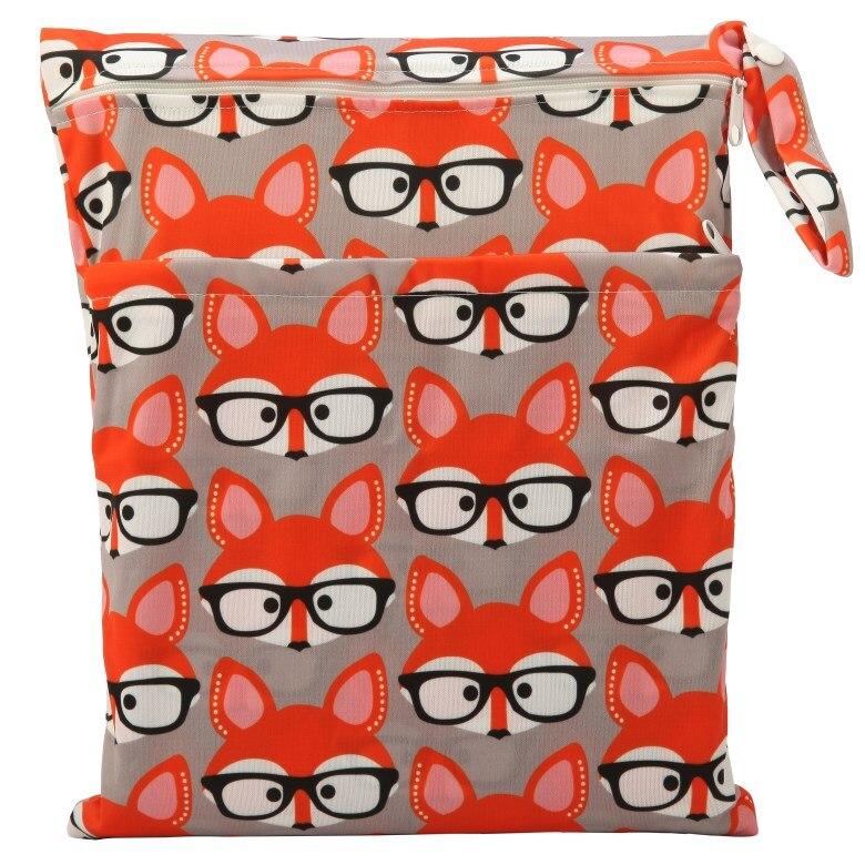 [Sigzagor] 1 Влажная сухая сумка с двумя молниями для детских подгузников, водонепроницаемая сумка для подгузников, розничная и, 36 см x 29 см, на выбор 1000 - Цвет: WH29 glasses fox