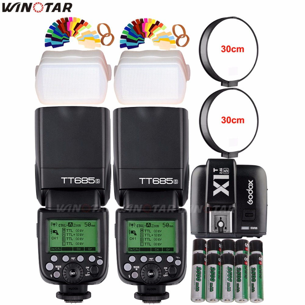 2x Godox TT685S 2.4G HSS 1/8000s TTL Flash Speedlite + X1T-S Trigger+ 10x 2500mAh Battery for Sony A77II A7RII A7R A6500 A6300 godox v860iic v860iin v860iis x1t c x1t n x1t s hss 1 8000s gn60 ttl flash speedlite 2 4g transmission godox softbox filter