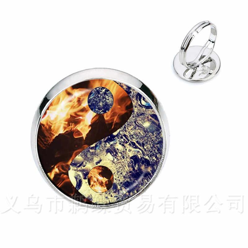 Yin Yang แก้วโดมแหวนผู้หญิงเครื่องประดับ Silver/Golden แหวนธรรมชาติสไตล์คลาสสิกสัญลักษณ์ Harmony Jewelry