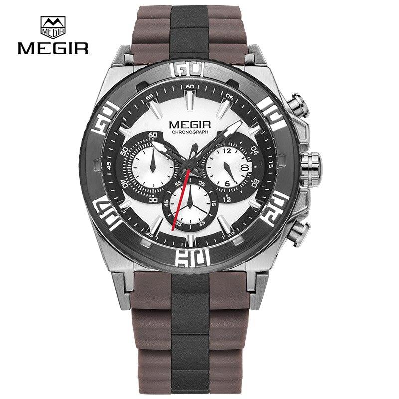 Prix pour MEGIR chronographe sport montres pour hommes 2015 de mode chaude de course lumineux quartz montre homme montre-bracelet mâle livraison gratuite 3009