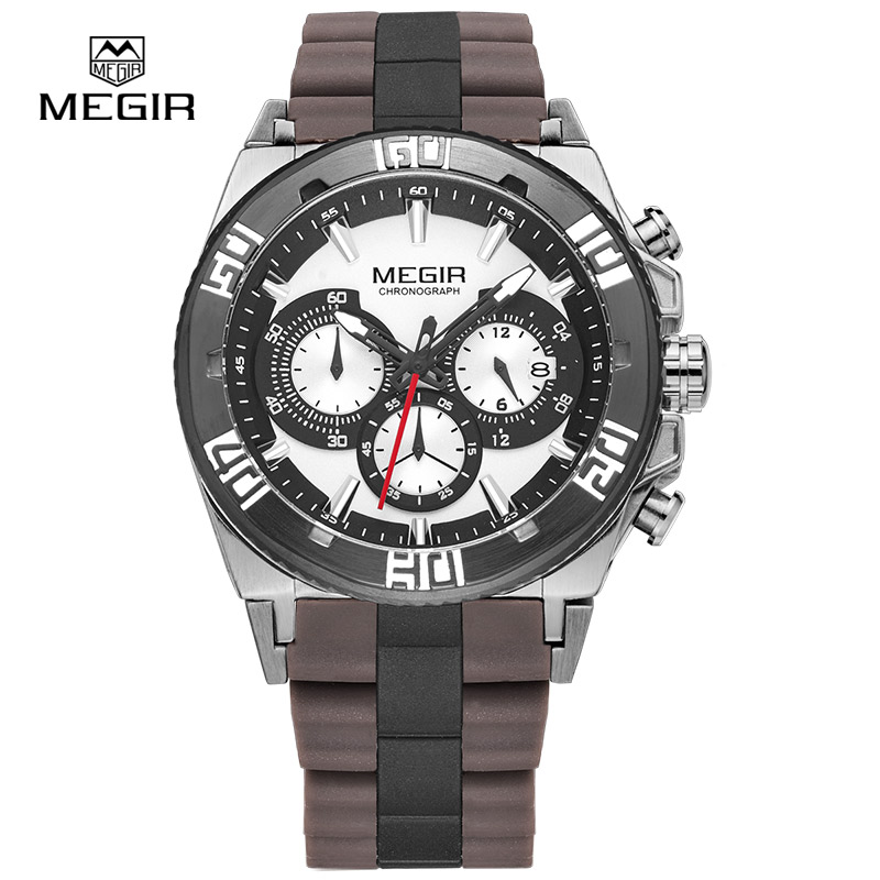 MEGIR hot chronograph sport watches for men 2015 fashion luminous running quartz watch man wristwatch male free shipping 3009 megir fashion casual stop watches for men luminous running brand watch for man leather quartz watch male 2007 free shipping