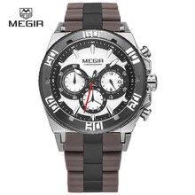 MEGIR chronographe sport montres pour hommes 2015 de mode chaude de course lumineux quartz montre homme montre-bracelet mâle livraison gratuite 3009