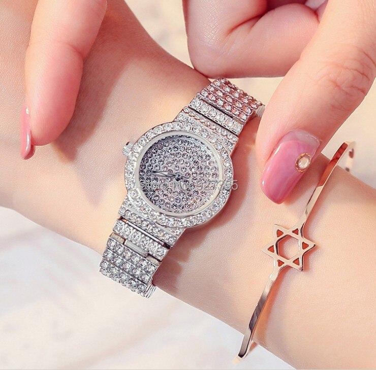Luxury Brand Women Silver Diamond Watch High Quality Female Full Rhinestone Small Dial Watches Lady Dress Quartz Wristwatches