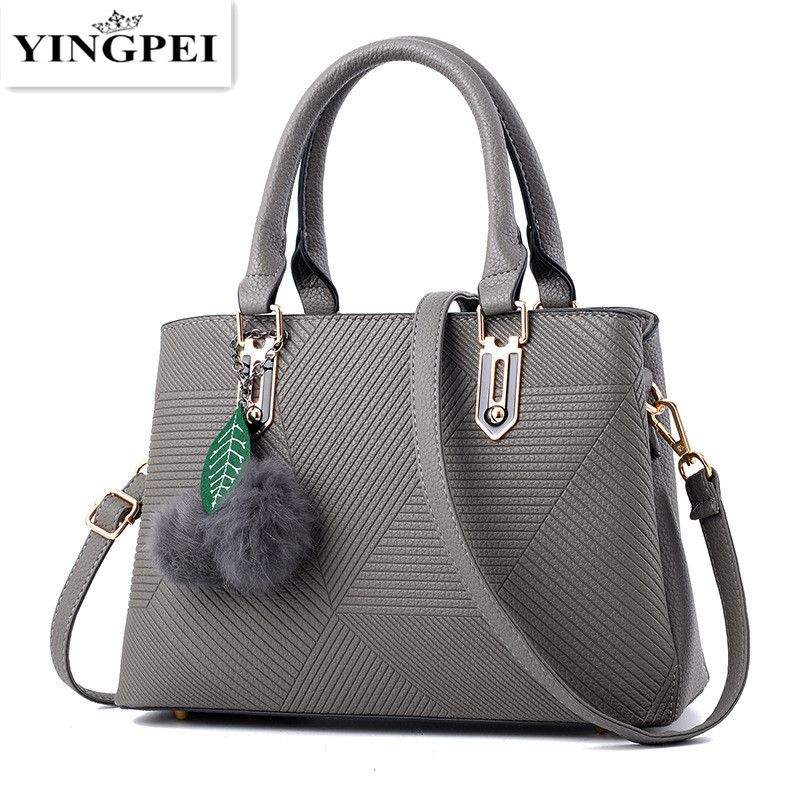 Yingpei Women Bag Vintage Casual Tote Fashion Messenger Bags Shoulder Student Handbag Purse Wallet Leather 2018 New Black