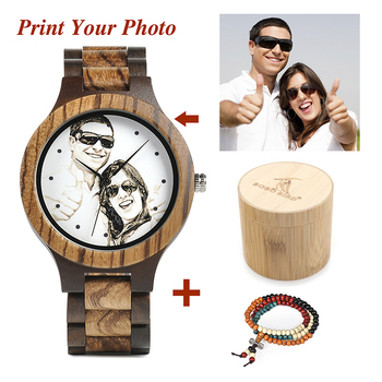 Personal Photo Print Customized Logo Wood Watch with Gift Box