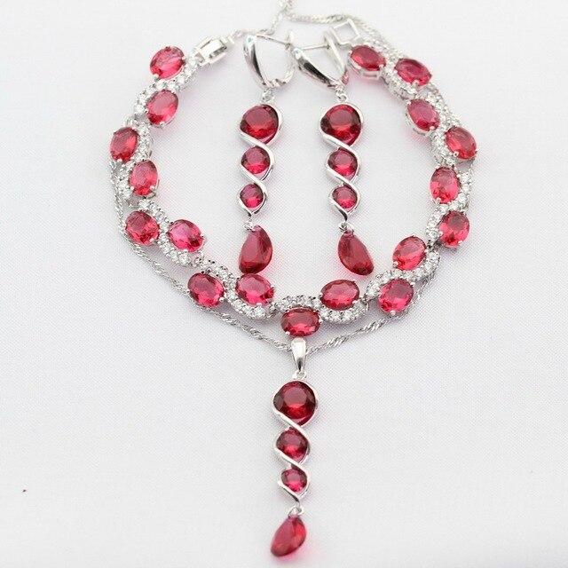 Длинный Серебристый Цвет Женщины Ювелирные Наборы Красный Создания Рубин AAA Циркон Ожерелье Серьги Кольца Браслет Рождественский Подарок