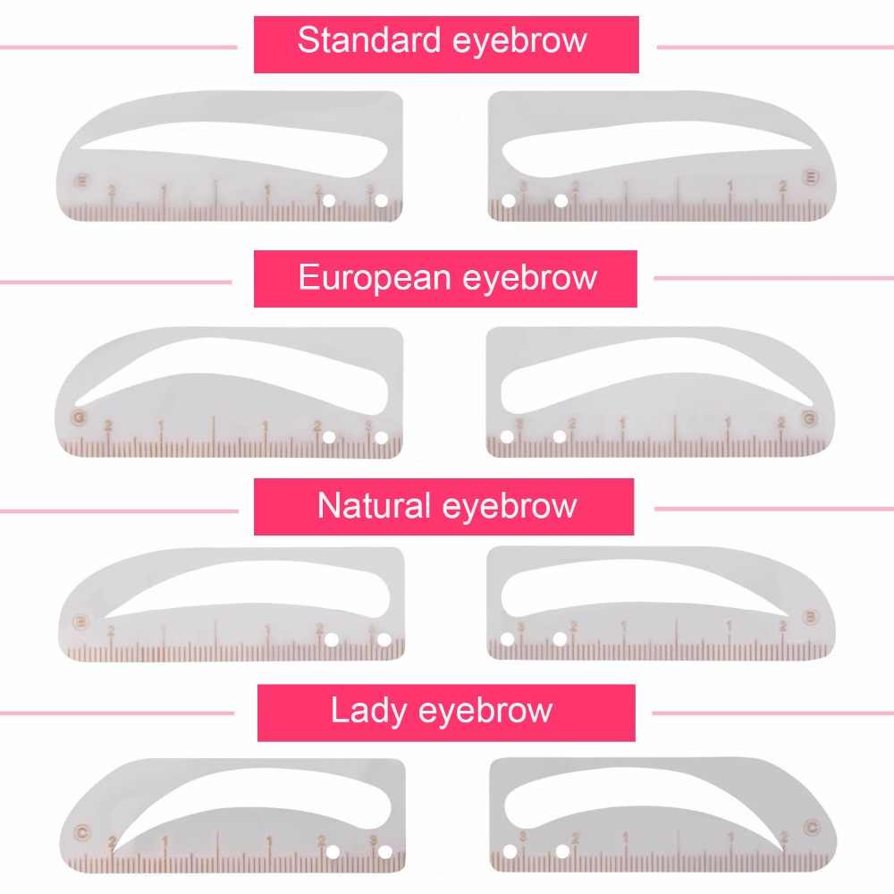 image about Eyebrow Template Printable named Eyebrow Grooming Shaping Stencil Package Forehead Template Make-up