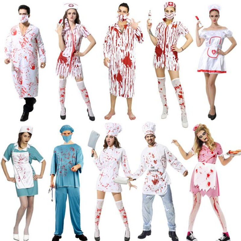 2018 Scary Doctor Nurse Bloody Costume Adults Men Women Cosplay Uniform Halloween Carnival Fancy Dress Party Decor Purim