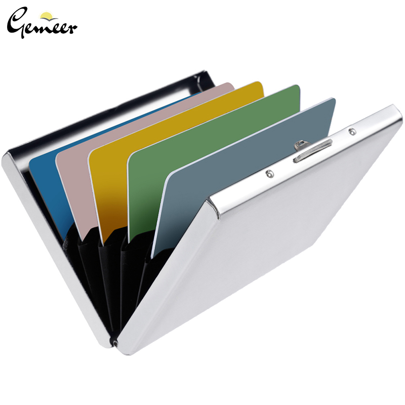 Gemeer Wallet Case Card-Holder Blocking-Technology RFID Metal for Ladies And Men