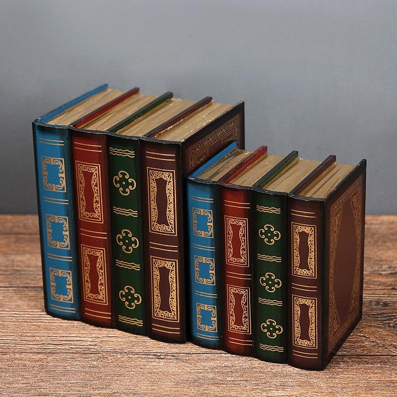 Lot de 2 (L + S) rétro boîte de rangement accessoires en bois faux livres maison bureau décoration modèle simulation livre bijoux boîte de rangement