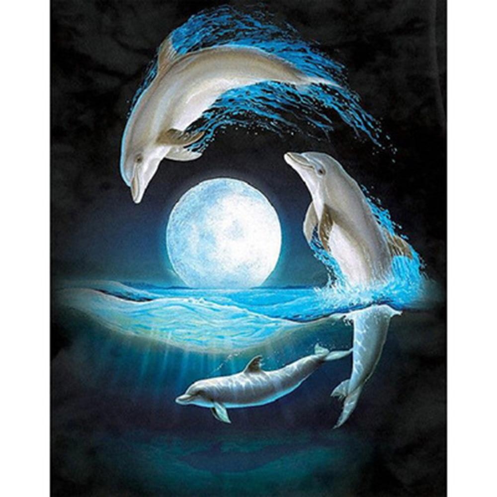 Taladro completo de Pintura de diamantes 5D 50 X 40 Cm-Miami Dolphins