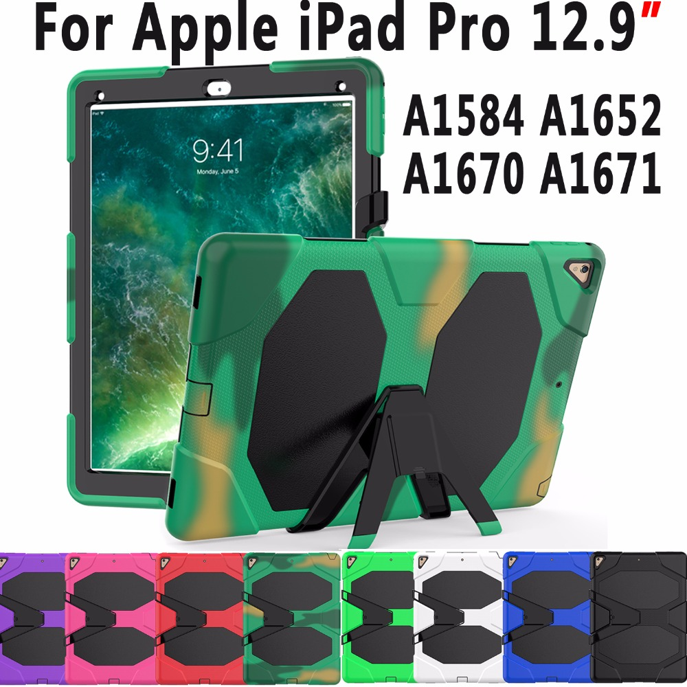 Premium Armor Silicone Heavy Duty Cover Case for Apple iPad Pro 12.9 2015 2017 A1584 A1652 A1670 A1671 Coque Capa Funda