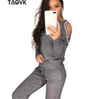 TAOVK sparkle diamonds open shoulder sweater Suits Top+Knitted pants two piece set female winter Costumes track suit for women