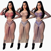 Stretchy Print Sheer See Through Mesh Long Maxi Dress Women Long Sleeve O Neck Going Out Night Club Sexy Party Dresses Ladies