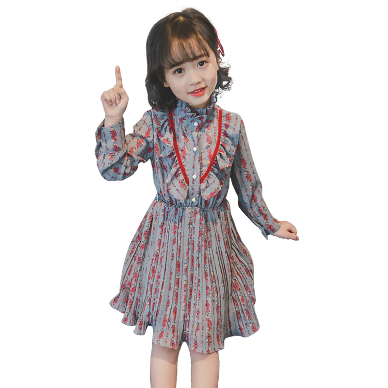2019 New Spring 3 - 12 Yrs Little Girls Loose Chiffon Dress Winter Long Sleeve Dresses Print Floral Party Frocks For Baby Girls