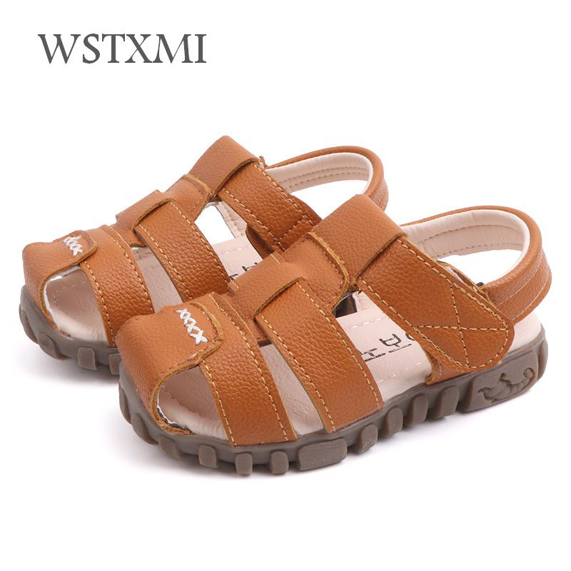 Summer Kids Shoes Boys Leather Sandals For Baby Flat Children Beach Shoes Sports Soft Non-slip Casual Closed-Toe Toddler Sandals