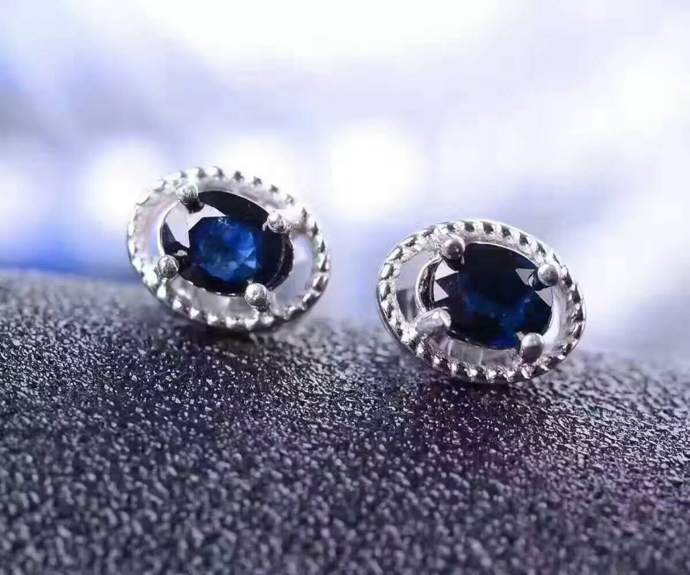 все цены на natural sapphire stone earrings 925 silver Natural gemstone earring women classic fashion round fine earrings jewelry for party онлайн