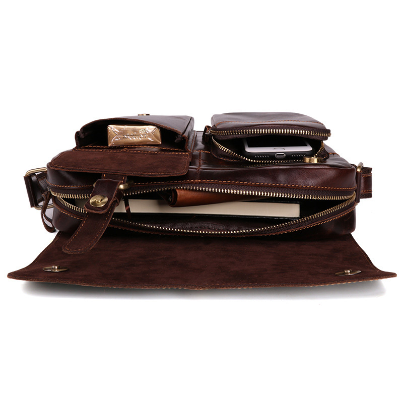 Männer Coffee Taschen Vintage Schulter Für Rindsleder Echt Satchel Gewachst Körper Umhängetasche Leder Kreuz q7x6wIw0