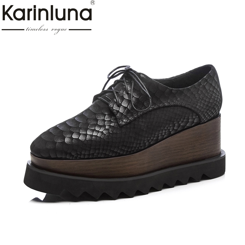 Karinluna 2018 Brand Genuine Leather Fashion Large Size 34-42 Women Shoes Woman Wedge High Heels Lace Up Black Pumps Woman fashion genuine leather shoes woman pumps 2016 new sexy wedges high heels round toe lace up women casual party shoes size 34 39