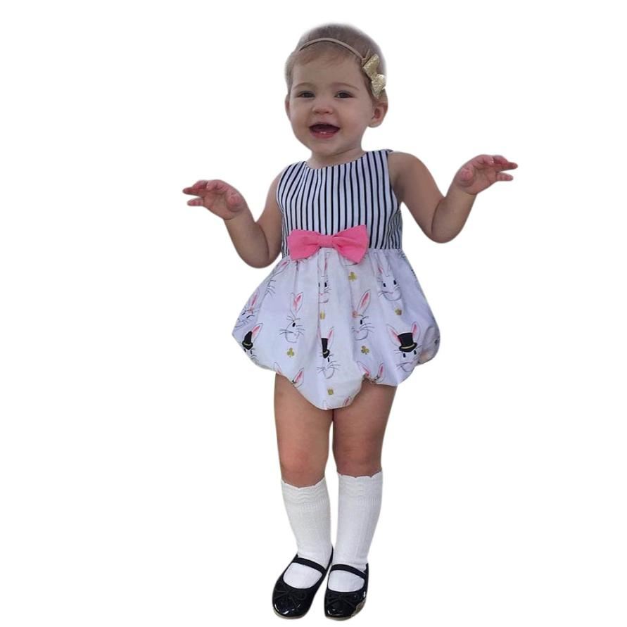 Girls Rompers Striped Cotton Rabbit Print Clothing Sleeveless O-Collar Onepiece with Pink Bow for Cute Casual Kids Sets 18Mar30