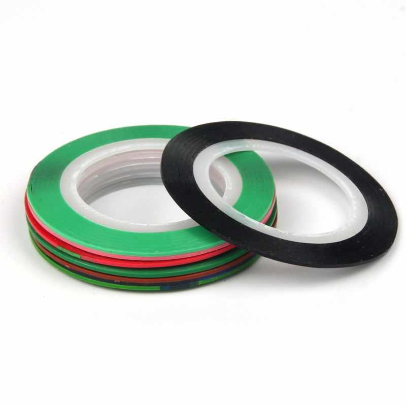 8ชิ้น/ล็อต1มิลลิเมตรที่มีสีสันเล็บสายเทปตีเส้นผู้หญิงเล็บสติ๊กเกอร์D Ecals DIYเครื่องมือทำเล็บมือเล็บเครื่องประดับเคล็ดลับWY631
