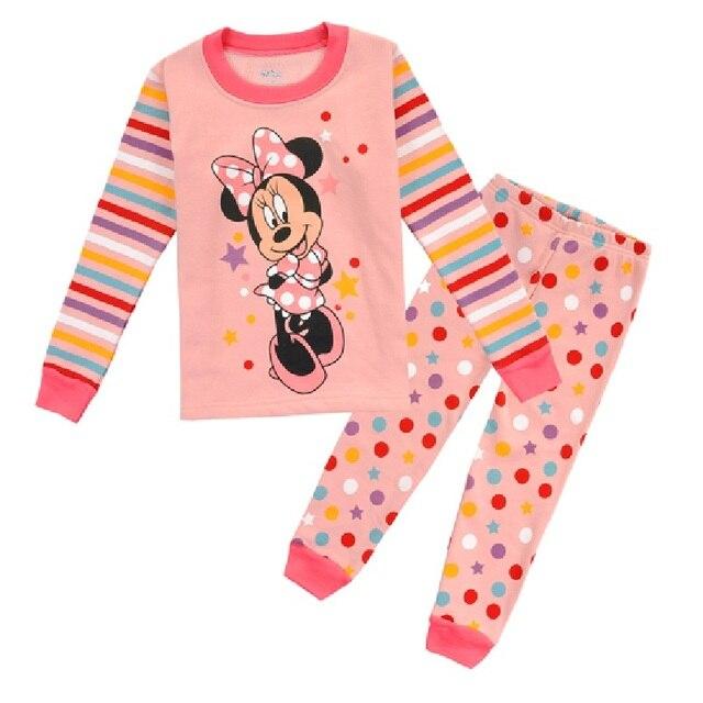 8 9 10 11 12 Лет Дети Пижамы Устанавливает Горошек Dot Девушки Пижамы рубашки Минни Розовый Девушка pijama loungewear 110-150 см WQBL