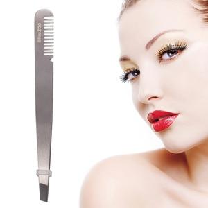 1 шт., Женский пинцет для бровей, для лица, для носа, для волос, с щеткой, для удаления, пинцет из нержавеющей стали, форма, инструмент для брове...