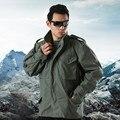 Los hombres al aire libre táctico militar del ejército de ee.uu. m65 chaqueta que acampa lining chaquetas abrigo multibolsillos masculinos con capucha desmontable capa piloto
