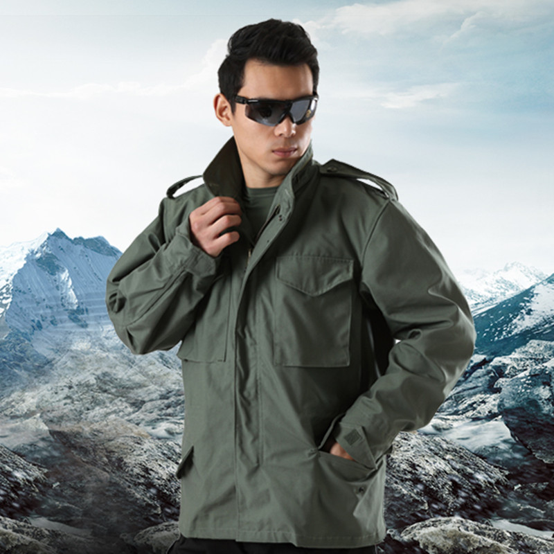 Outdoor men US army Military Tactical M65 Jacket Camping detachable lining male Jackets Overcoat multi-pocket hooded pilot coat open front side pocket hooded coat
