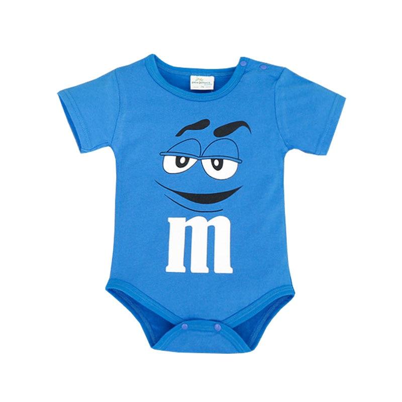 Vruće prodaja bebe bodysuit odjeća pamuk kratki rukav trokut MM čokolada crtani film za 0-2t MM821 novorođenčad jumpsuit